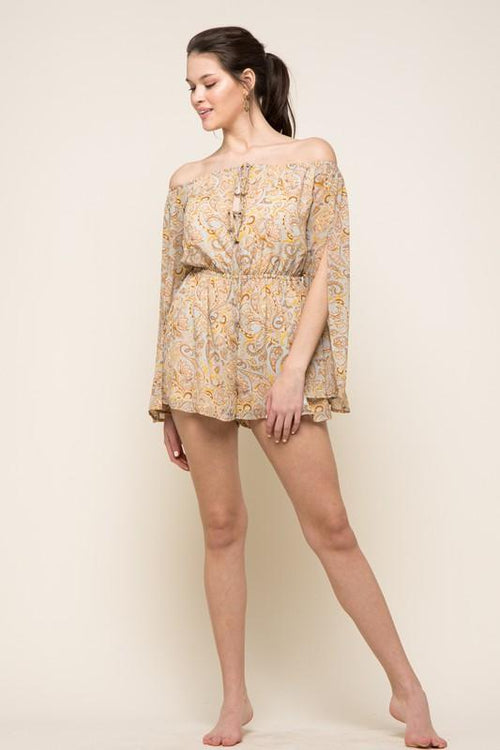 Esther Long Sleeve Off The Shoulder Paisley Romper