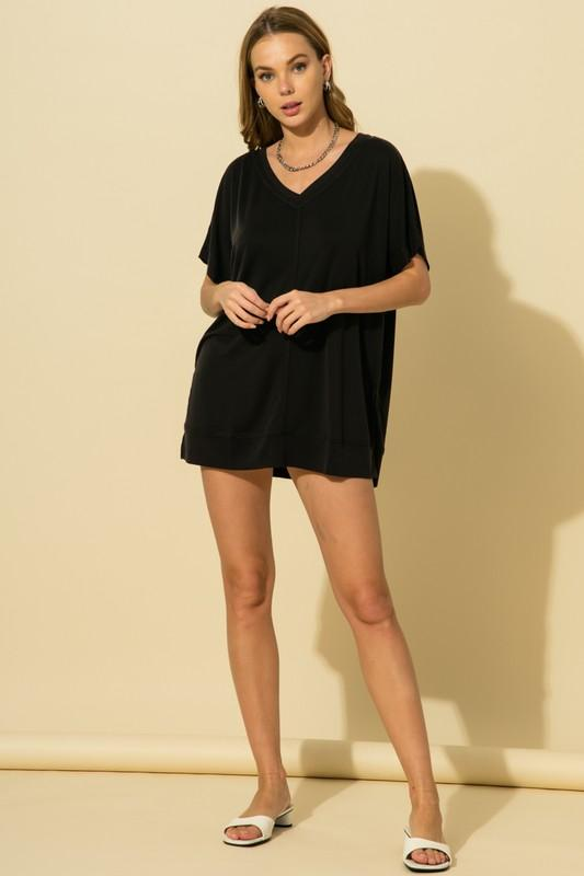 Miley V Neck Drop Shoulder Top - Black