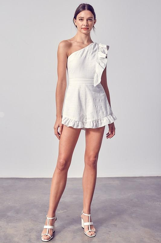 Noelle One Shoulder Ruffle Detail Romper