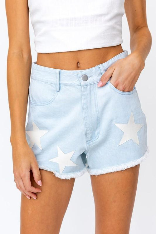 Bree Denim Star Patch Shorts