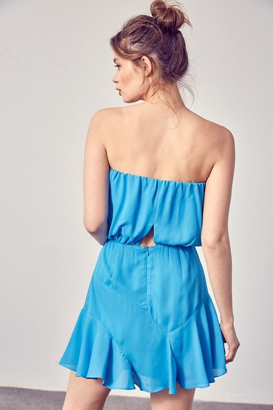 Delaire Waist Tie Strapless Dress - Blue