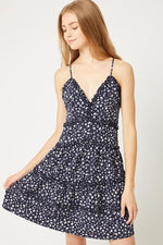 Tahira Floral Ruffle Detail Dress - Navy