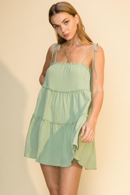 Berkley Self Tie Swing Dress - Sage