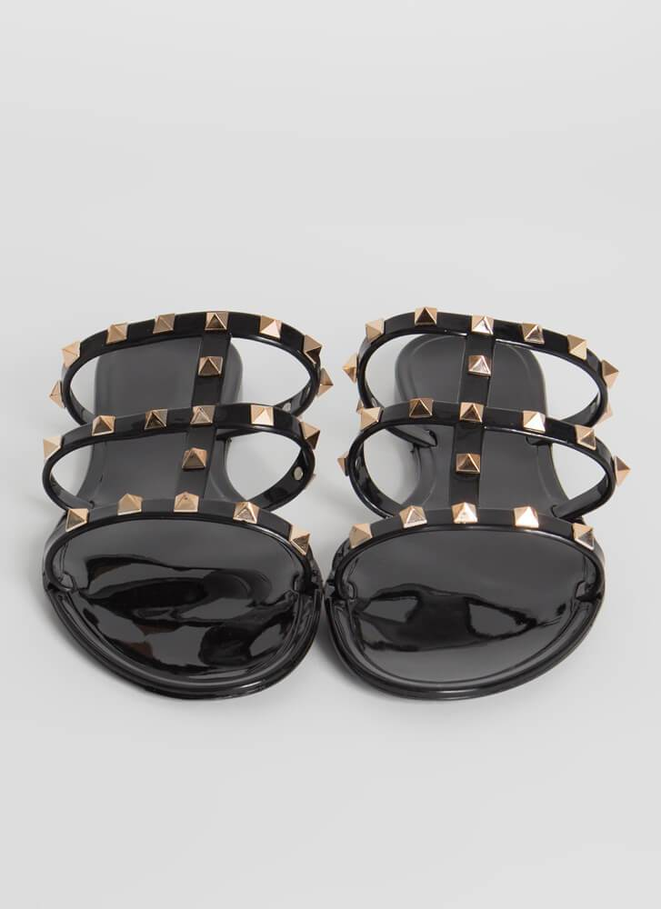 Elsa Three Strap Stud Jelly Sandal - Black