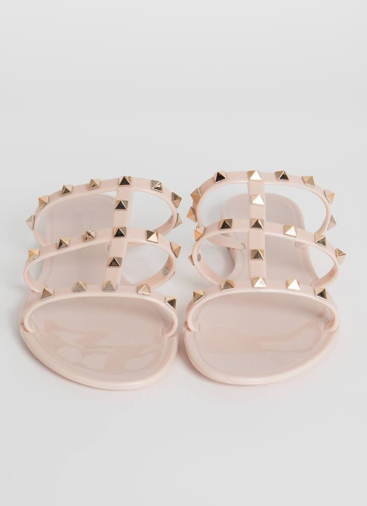 Elsa Three Strap Stud Jelly Sandal - Blush