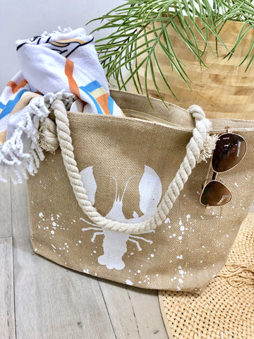 Ariel Jute Beach Tote - Lobster