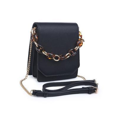 Claudine Tortoise Detail Cross-Body Bag - Black