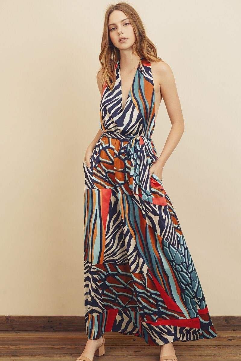 Julie Coral Print Maxi Dress