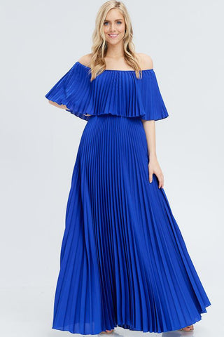 Mary Off Shoulder Pleated Maxi Dress - Royal Blue