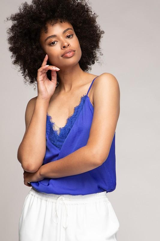 Amber Spaghetti Strap Lace Top - Royal Blue