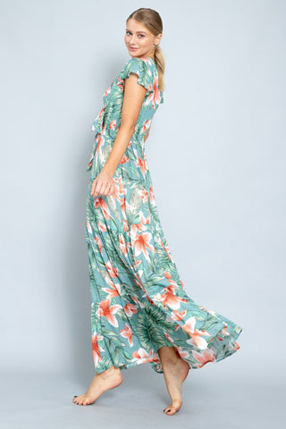 Mishka Tropical Front Tie Maxi Dress