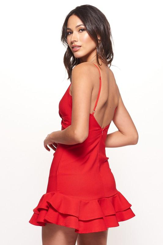 Hailey Twist Front Ruffled Mini Dress