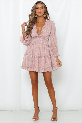 Julissa Open Back Ruffled Long Sleeve Dress - Pink