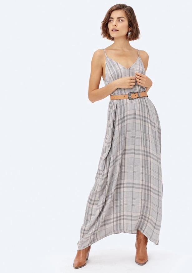 Mari Cocoon Plaid Maxi Dress