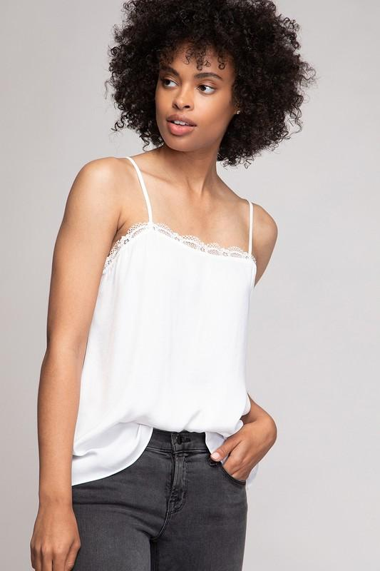 Lena Lace Detail Cami Top - White