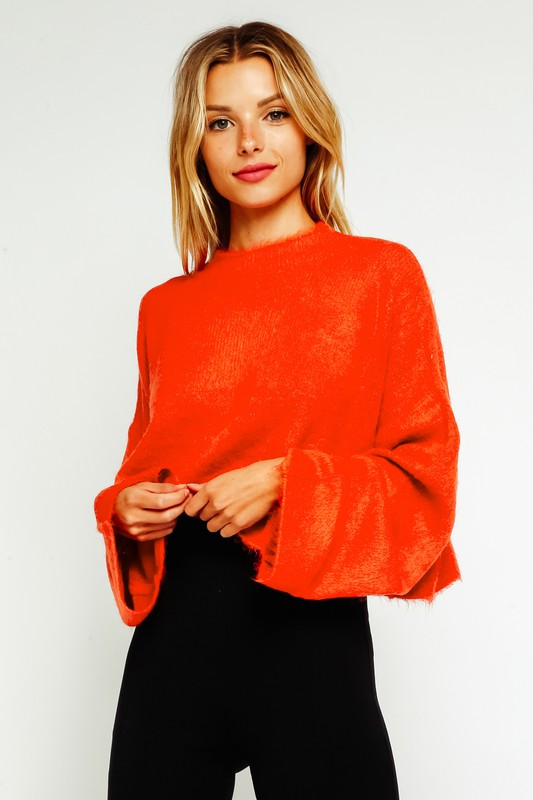 Courtney Fuzzy Bell Sleeve Cropped Sweater
