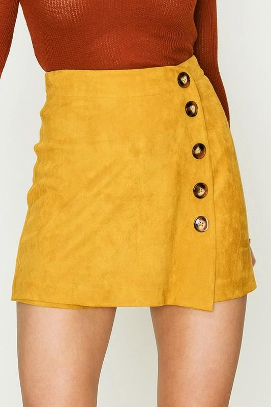 Fiore Side Button Detail Suede Skort