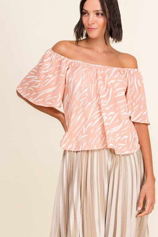 Teria Off-Shoulder Zebra Top