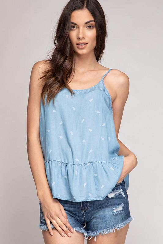 Angie Chambray Pineapple Top