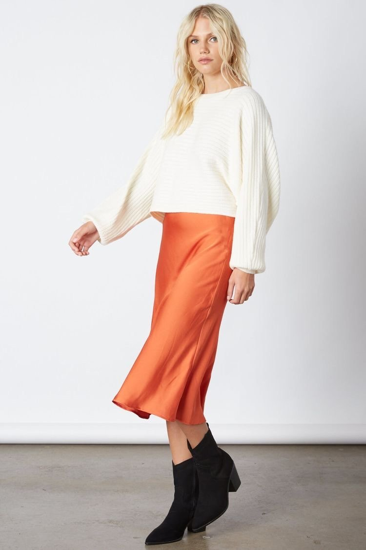 Stella Satin Midi Skirt
