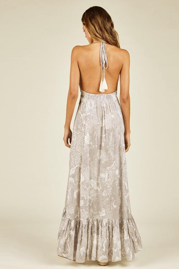 Lillibeth Backless Snake Print Maxi Dress
