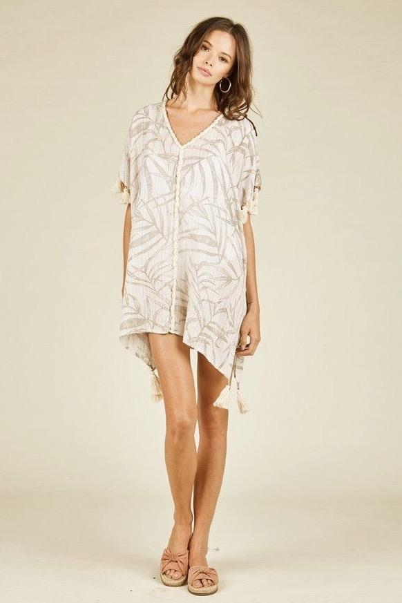 Alena Palm Leaf Print Cover Up - Taupe