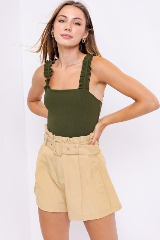 Isabel Ribbed Bodysuit -Olive