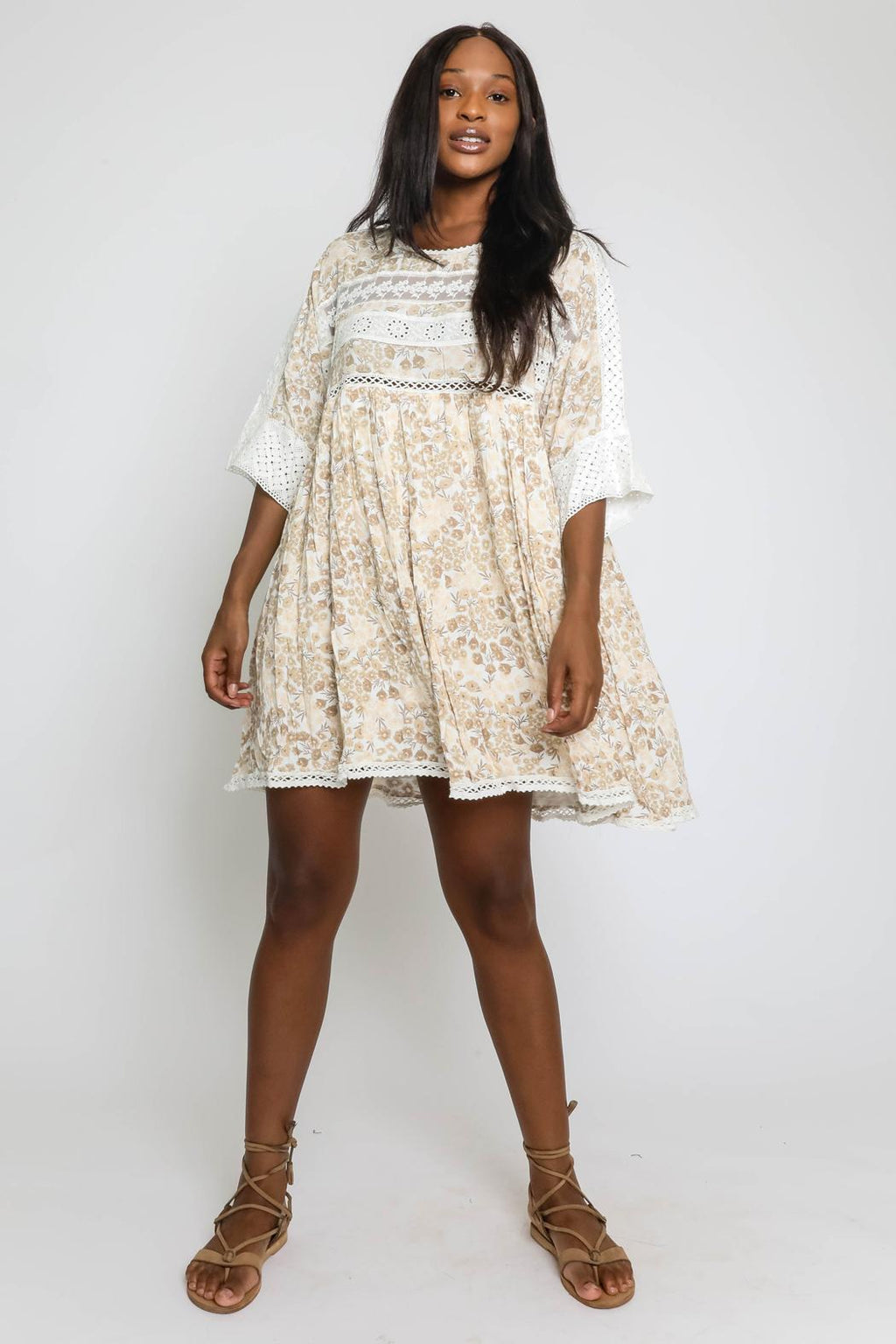 Aaliyah Floral Print Mini Dress with Crochet Trim