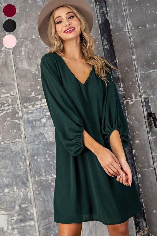 Georgia Long Sleeve Neck Dress - Hunter Green