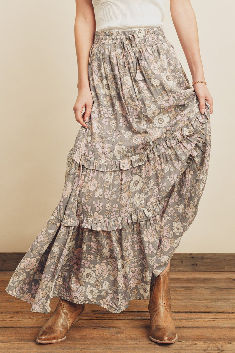 Raegan Floral Tiered Maxi Skirt