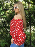 Annabelle Polka Dot Ruffle Sleeve Top - Red