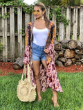 Stelly Bell Sleeve Multicolored Kimono