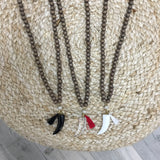 Beaded Horn & Tassel Necklace