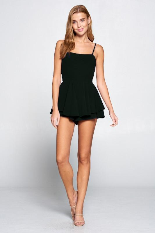 Livana Tiered Open Back Romper - Black