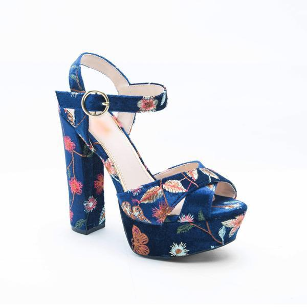 Beatrice - Velvet Embroidered Platform Heel