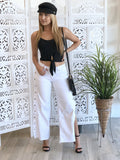 Alana Wide Leg Side Snap Button Slit Jeans