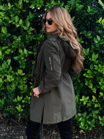 Jordyn Hooded Utility Anorak & Raincoat - Olive