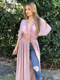 Chrissy Lace Maxi Duster -  Mauve