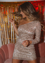 Melvina Sequin One-Shoulder Mini Dress - Copper/Gold