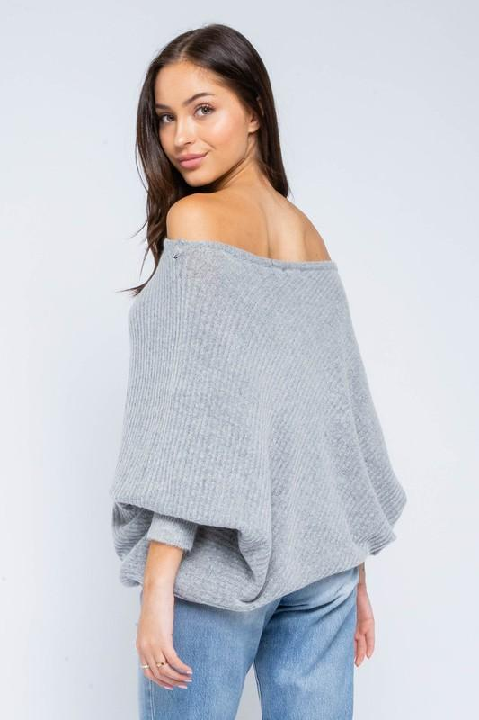 Monroe Asymmetrical Sweater Top - Grey