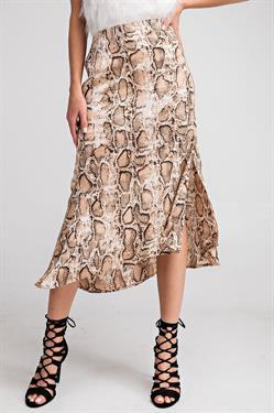 Corina Satin Python Midi Skirt - Brown