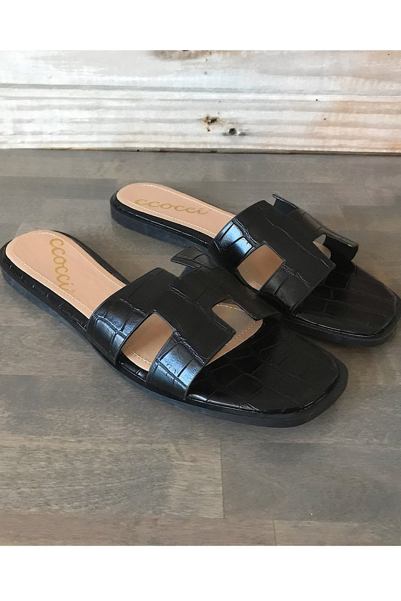 Reagan Croc Slide Sandal - Black