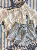 Alia Gathered Waist Belted Shorts - Light Wash