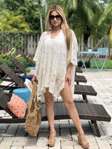 Amira Lace Cover Up Tunic - Cream