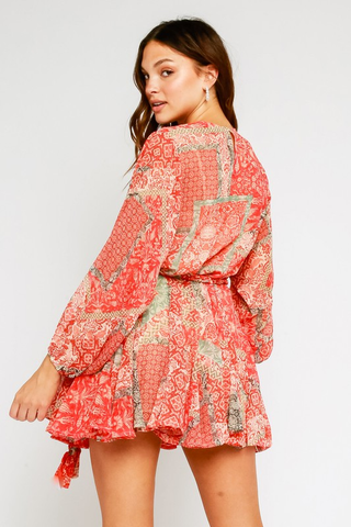Dylan Paisley Ruffled Mini Dress