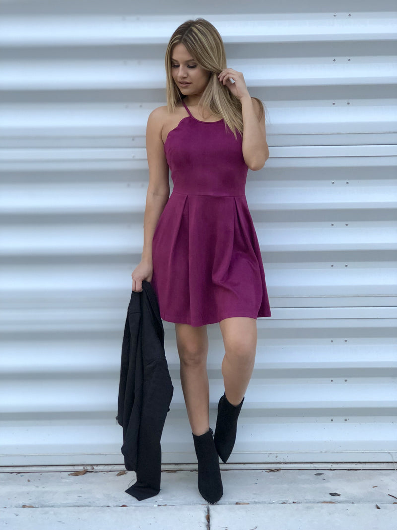 Daisy Scallop Suede Dress