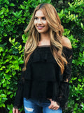 Zoey Off Shoulder Lace Top - Black
