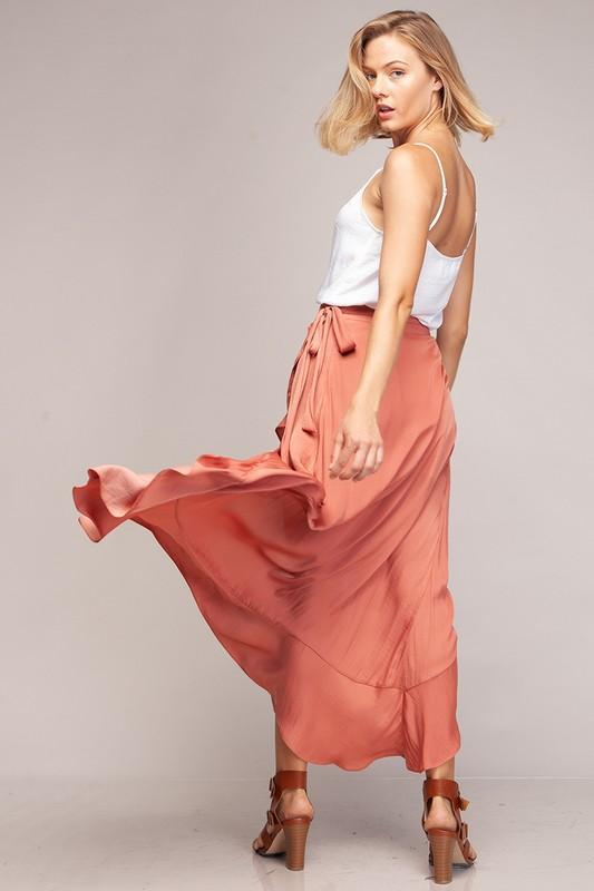 Riane Wrap Ruffle Skirt - Terracotta