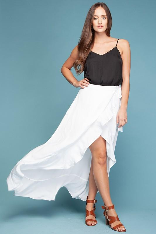 Riane Wrap Ruffle Skirt - White