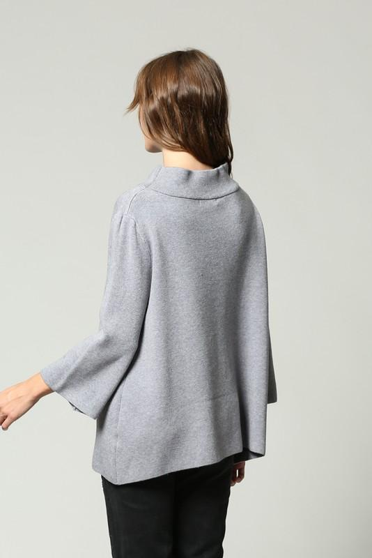 Lipsi Mock Neck Pullover Bell Sleeve Sweater - Grey